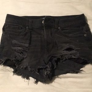 Express Black High Waisted Distressed Jean Shorts